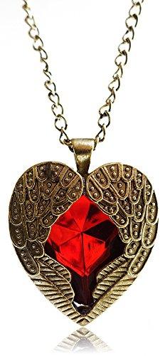 Eternity-J-Vintage-Women-Blood-Red-Heart-Shape-Gothic-Necklace-Pretty-Rhinestone-Vampire-Pendant-Chain