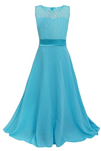 YiZYiF Girls Kids Floral Lace Maxi Long Pageant Wedding Formal Chiffon Dress Blue 14