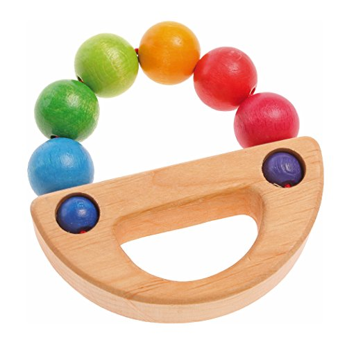 Grimm's Rainbow Boat Wooden Beads Grasper - Baby Teething & Grasping Toy, Handmade in Germany