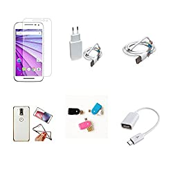 High Quality Combo of Moto G3 Temper Glass + 1 Amp USB Charger + USB Data Cable + Attractive Back Cover (Transparent Back with Golden Border) + OTG and USB Dual Card Reader