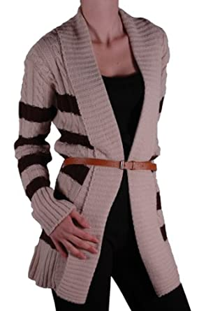 EyeCatch - Womens Striped Open Front Ladies Belted Cardigan One Size Beige Brown