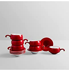 Clay Craft Cup and Saucer Set 6 pure red