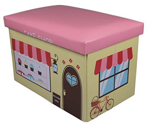 Pink and Yellow Cake Shop Collapsible Toy Storage Box and Closet Organizer for Kids - Cushion Top (Hello Kitty Bakery Set compare prices)