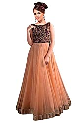 Clickedia Women Net Embroiderd Beige Semi Stitched Gown
