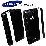 Flip-Case Handy Klapp Tasche Samsung S5260 Star 2 Star II Schwarz Weiß