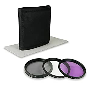 49mm Lens Filter Kit for Sony Alpha 3000   Alpha 7R   NEX-3   NEX-5   NEX-5N   NEX-5R   NEX-7   NEX-C3   NEX-F3 etc... - incl. Filter (UV, CPL, FLD) + Filter Pouch + Microfiber Lens Cleaning Cloth