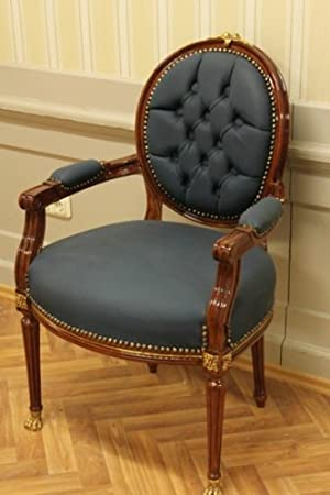 baroque armchair carved rococo chair antique style MoCh0067AHzSkBl