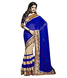 Pragati fashion Hub Blue Faux Georgette Saree