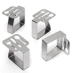 4pcs Tableware Shape Stainless Steel Tablecloth Clips Table Cover Holder For Party Picnic