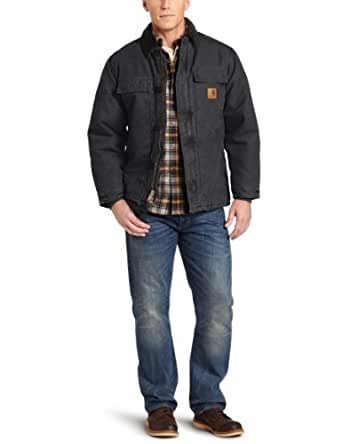 Carhartt Men's Big & Tall Arctic-Quilt Lined Sandstone Duck Traditional Coat C26,Black,Medium Tall