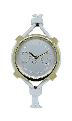 D&G Dolce & Gabbana Women's DW0842 Lisbon Gold Case Silver Dial Spaghetti Strap Watch