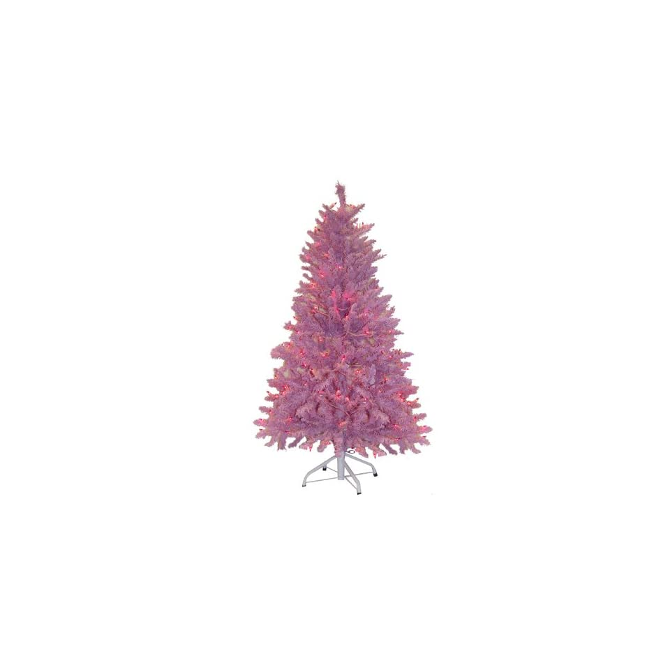 4.5 Pre Lit Pink Mauve Artificial Christmas Tree   Pink Lights