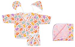 Dream Baby Clothing Jhabla Set (Multi-color, 0-3 Months)