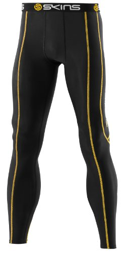 Skins Long Tights Men'S Compression Clothing (Black/Yellow), Xs