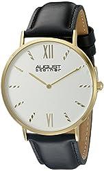 August Steiner Men's AS8166YG Round Silver Dial Two Hand Quartz Gold Tone Strap Watch