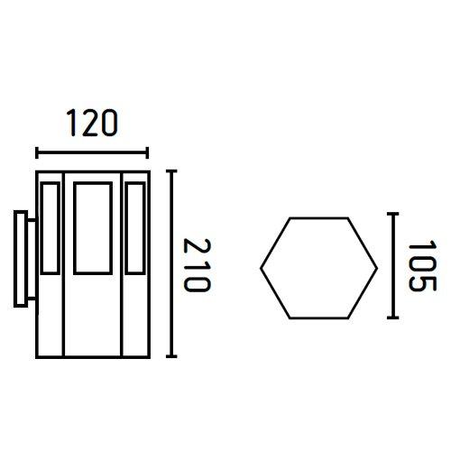 Faro 75515 - LONG Lampe applique gris foncé