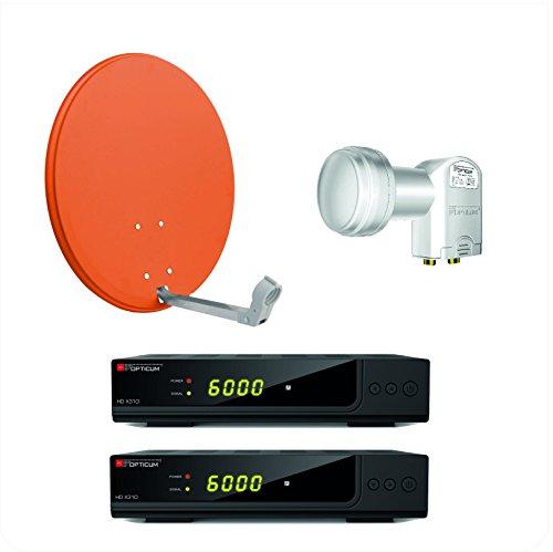 Opticum X310 digitale 2 Teilnehmer HD Anlage (X310 HD DVB-S2 Receiver, Twin LNB - LTP - 04H , X60 SAT Antenne mit Stahlrücken) ziegelrot