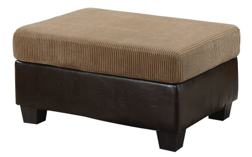 ACME 55947 Connell Ottoman, Light Brown Corduroy and Espresso PU - 1