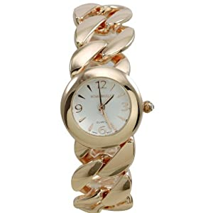 BOMBSHELL Women's BS0966R Classic Analog with Chain Link Bracelet White Dial Watch