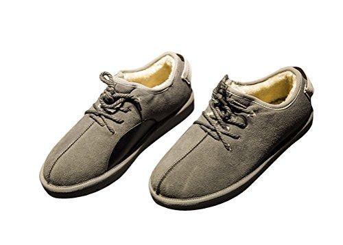 Brinny Unisexe Homme Bottes de Neige à Lacet Casual Chaud Plus Velours Courte Chaussures Vintage Snow Boots 2 Couleur: Noir / Gris