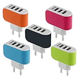"UNMCOREâ""¢ Premium Quality 3 Ports Triple Quick Charger Adapter For All Smart Phones And Tablets - Multi Colors"