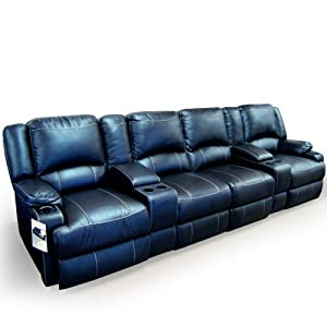 Clay madison jaleco home theater seating row of 4 chairs with middle love seat Home theater furniture amazon