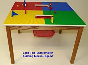"LEGO COMPATIBLE PLAY TABLE WITH 2 STORAGE POCKETS SOLID OAK 31.5"" x 31.5"" x 21"" MADE IN USA!!! from Table Toys made by Flexitoys"