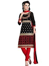 STYLE N DEAL Women's Chanderi Silk Unstitchced Dress Material (238D3810_Black_Free Size )