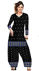 Demand Womens Dress Material Black and Blue Semi Stitch Dress Material