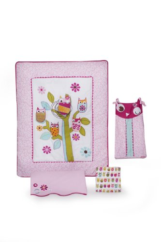 Zutano Owls 4 Piece Crib Bedding Set, Pink