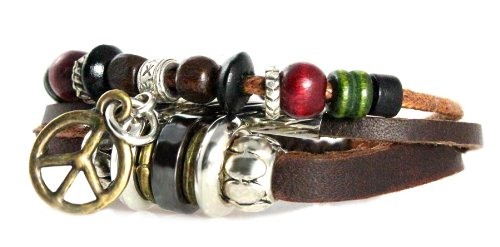 Peace Drop Leather Zen Bracelet - Adjustable, Fits 5.5 to 8 Inches, for Men, Women, Teens, Boys and Girls (Foil Gift Box)