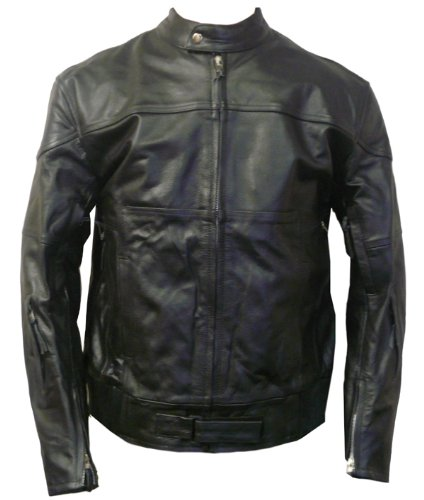Mens Black Leather Vented Motorcycle Jacket -Leatherbull(Free U.S. Shipping) (M)