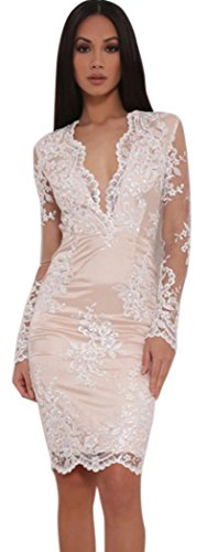 DH-MS Dress Women's Deep V Sleeve Floral Lace Overlay Lined Mini Dress White M