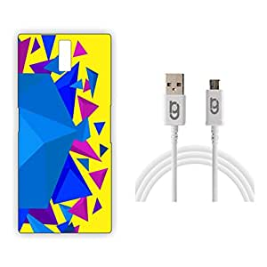 Designer Hard Back Case for OnePlus One with 1.5m Micro USB Cable