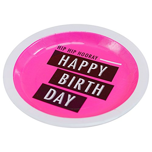 Neon Pink Happy Birthday Paper Party Plates