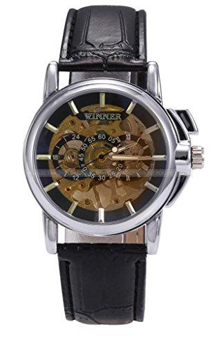 Winner Men'S Skeleton Black Dial Hand-Winding Fashion Mechanical Wrist Watch