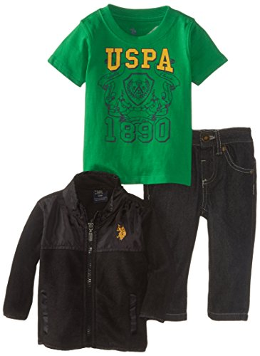 U.S. Polo Assn. Baby-Boys Infant Micro Fleece Jacket T-Shirt And Denim Pant, Black, 24 Months