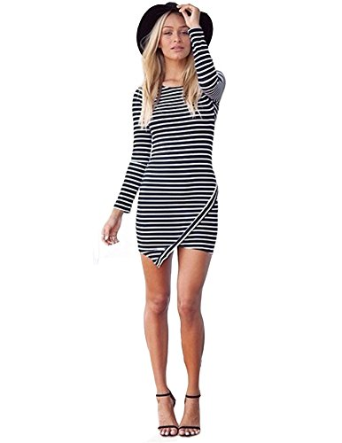 Kranda Women Striped Long Sleeve Bodycon Party Evening Cocktail Mini Dress