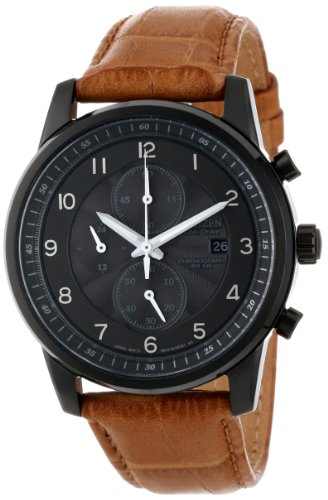 Citizen Men's CA0335-04E Eco-Drive Black Ion Plated Chronograph Watch