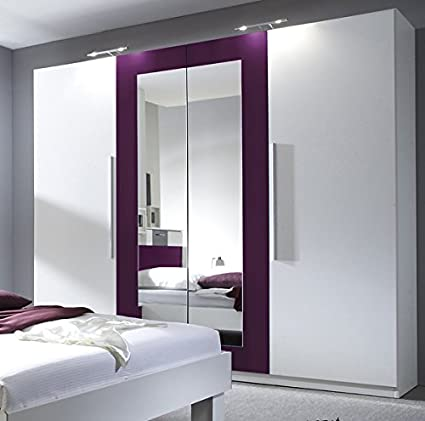 Kleiderschrank Schrank 54020 4-turig mit Spiegel weiß / lila