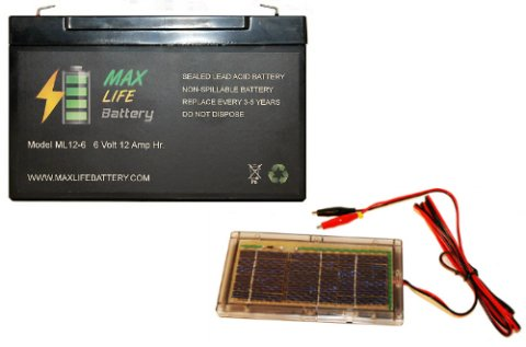 6V 12Ah Battery Replacement With Solar Charger For Excide Model1000