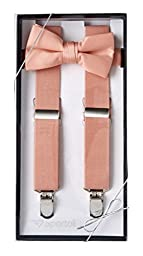 Sportoli™ Kids and Baby Elastic Adjustable Solid Suspender and Bow Tie Gift Set - Peach (26 Inch)