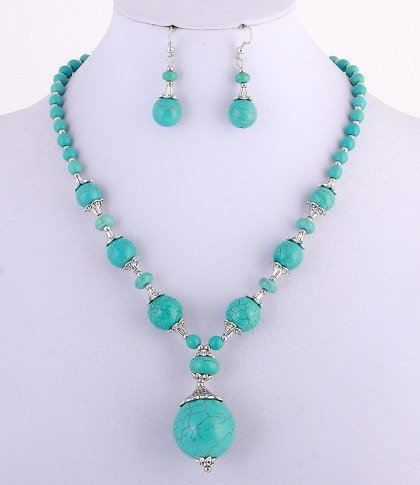 Turquoise Gemstone Necklace & Hook Earring Set / Lobster Claw Clasp / NL: 18.00