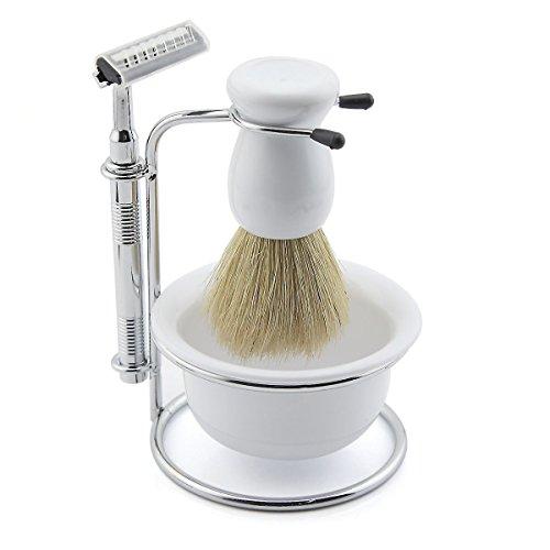 Portable Men Shaving Set Shaver Beard Brush Kit With Five Razor and Soap Dish Stand Bowl (white)
