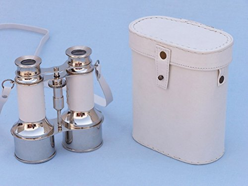 "Solid Brass Binoculars W/ White Leather Belt And Leather Case 6"" - Nautical D?Cor"