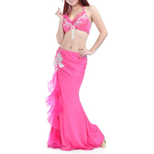 BellyLady Belly Dance Gypsy Costume, Belly Dance Bra & Ruffled Skirt