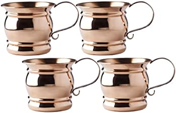 4 Set Solid Copper Mugs with Flat Handle