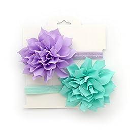 My Lello 2 Pack Infant Baby Mixed Colors Fabric Petal Flower Headbands (Lavender/Aqua)