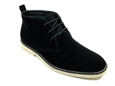 Mens Black Ankle High Chukka Desert Style Lace Up Casual Boots (16, Black)