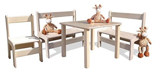 Kindersitzgruppe – Kindermöbel – 1 Tisch, 2 Bänke, 1 Stuhl – Direkt vom Hersteller